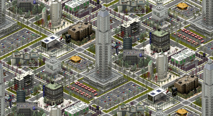 Isometric city buildings, modern urbanscape. 3D rendering