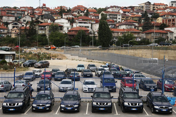 EU mission for law enforcement and justice in Kosovo (EULEX) vehiclels are parked in Pristina