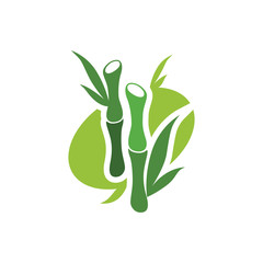 Green Bamboo Tree Logo Symbol