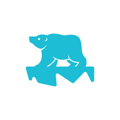 Polar Bear Standing on Ice Logo Mascot