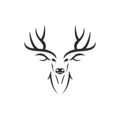 Simple Silhouette of Stag Deer Antlers Head