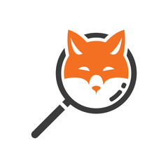 Smart Fox Search Detective Logo Symbol
