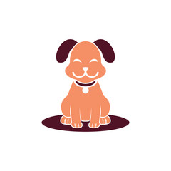 Smiling Dog Cute Pet Shop Logo Symbol