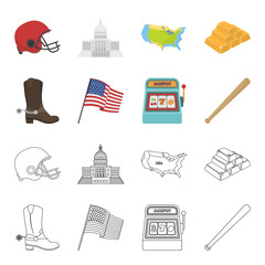 Cowboy boots, national flag, slot machine, baseball bat. USA country set collection icons in cartoon,outline style vector symbol stock illustration web.