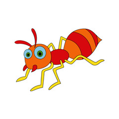 Ant cartoon illustration isolated on white background for children color book