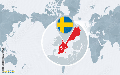 World map centered on America with magnified Sweden.\