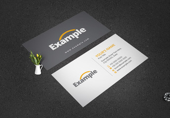 Business Card Layout with Yellow Accents