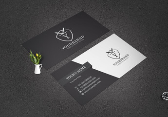 Business Card Layout with Dark Gray Diagonal Elements
