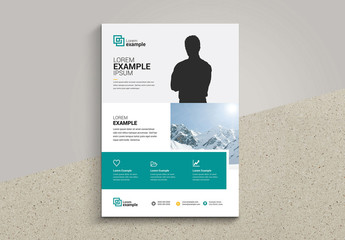 Business Flyer Layout with Man Silhouette Element