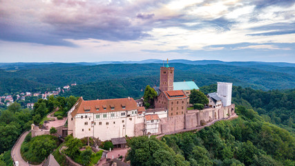 aerial view of the Wartburg Thuringia Eisenach Germany