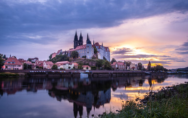 Albrechtsburg and Meissen cityscape on the river Elbe at sunset Germany
