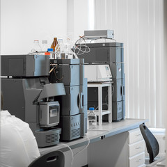 Equipment in the medical, pharmaceutical laboratories.
