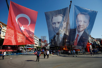 Supporters of Turkish President Tayyip Erdogan leave after an election rally in Yalova