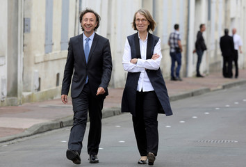 Stephane Bern, French President's cultural special adviser and French TV host, speaks to French Culture Minister Francoise Nyssen, after visiting Pierre Loti's house in Rochefort