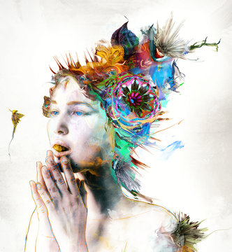 Abstract woman with hands in prayer