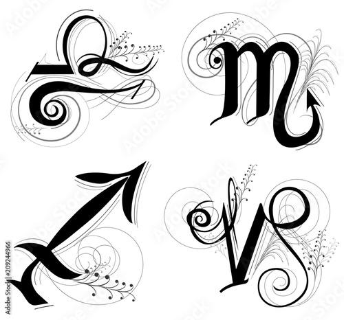 Letter Horoscope Or Zodiac Symbol Are Libra Scorpio Sagittarius And