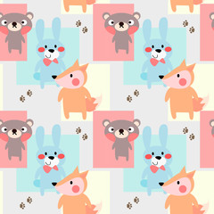 Cute baby woodland animals seamless pattern vector