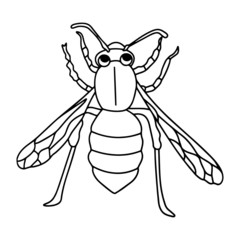 Wasp cartoon illustration isolated on white background for children color book
