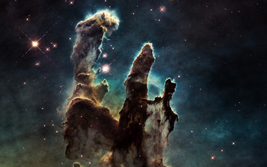Pillars of Creation. Deep space. Elements of the image are furnished by NASA