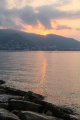 Gold sea sunset. Picture Sea sunset. Sea sunset background.