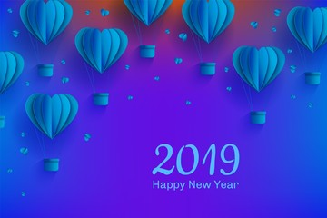 New year 2019 holiday Background template with papercut blue air balloons. Celebration backdrop with modern origami paper flying objects and space for text. Vector illustration