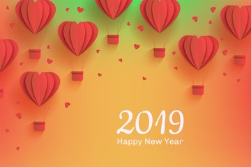 New year 2019 holiday Background template with papercut red air balloons. Celebration backdrop with modern origami paper flying objects and space for text. Vector illustration