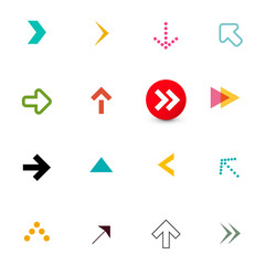 Arrow. Colorful Flat Arrows Icons Set for App Isolated on White Background. Vector Navigation Items Design.