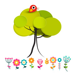 Flowers with Bird on Tree Vector