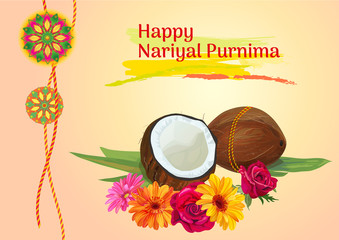 Horizontal template card for Nariyal Purnima Indian festival celebration with coconuts, decorative Rakhi, orange, red, yellow roses, daisy flowers on vintage background, vector illustration, A4