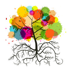 Abstract Vector Tree with Roots and Colorful Splashes Isolated on White Background