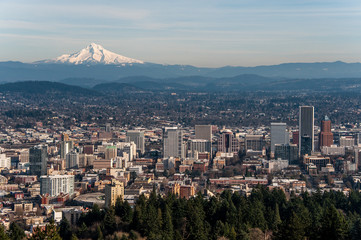 View of Mount Hood and Portland in Oregon