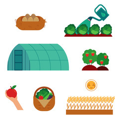 Farming and gardening scenes set in flat cartoon style isolated on white background - cultivation of agricultural crops, seeding and harvesting theme in vector illustration.