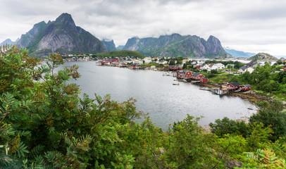 View of the Reine, fishing village, Lofoten, Nordland county, No