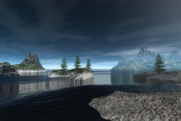 Rocky coast, a natural landscape, trees on the island, fog on the horizon and clouds in the sky.