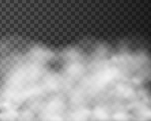 Realistic illustration of smoke or clouds, isolated on transparent background