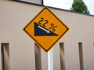 22% steep slope traffic signs