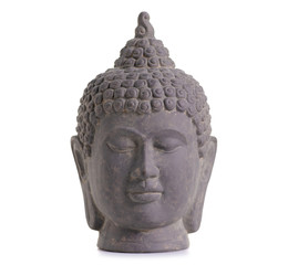 Clay head buddha on white background isolation