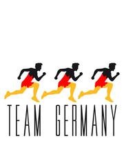 rennen 3 freunde team crew rennen farben stürmer tor schießen deutschland fan feiern party ball muster flagge germany gewinner sieger