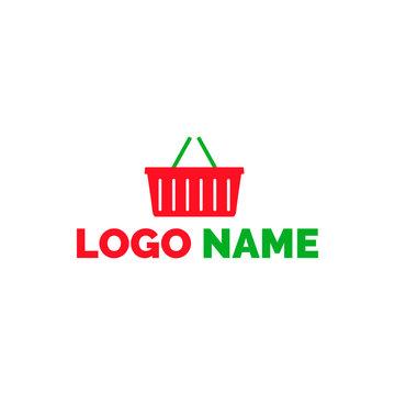 Logo supermarket shopping cart. Logo for grocery store, supermarket