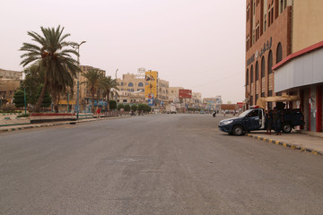 Empty street is pictured in the Red Sea port city of Hodeidah, Yemen