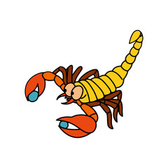 Scorpion cartoon illustration isolated on white background for children color book