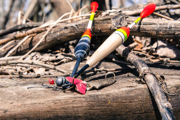 composition with fishing gear on the background of a wooden surface