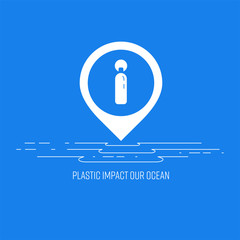 A combination of information icon and location icon, with i letter gimmick as a plastic bottle representing impact to the ocean. Vector illustration.