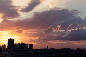 twilight sky , sunset sky over the city