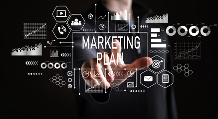Marketing Plan with businessman on a black background