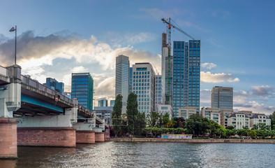 Bridge over Main River and Frankfurt Skyrscrapers in Summer