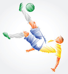 Brazilian soccer player trying to kick the ball made of colorful brushstrokes on light background
