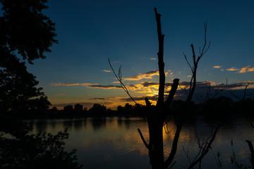 Beautiful sunset on Mystic River at Everett Massachusetts
