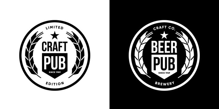 Modern craft beer drink isolated vector logo sign for brewery, pub, brewhouse or bar. Premium quality logotype tee print badge illustration. Brewing fest fashion t-shirt emblem design set.