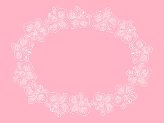 White contour orchids on pink background decorative frame with copy space for your text.